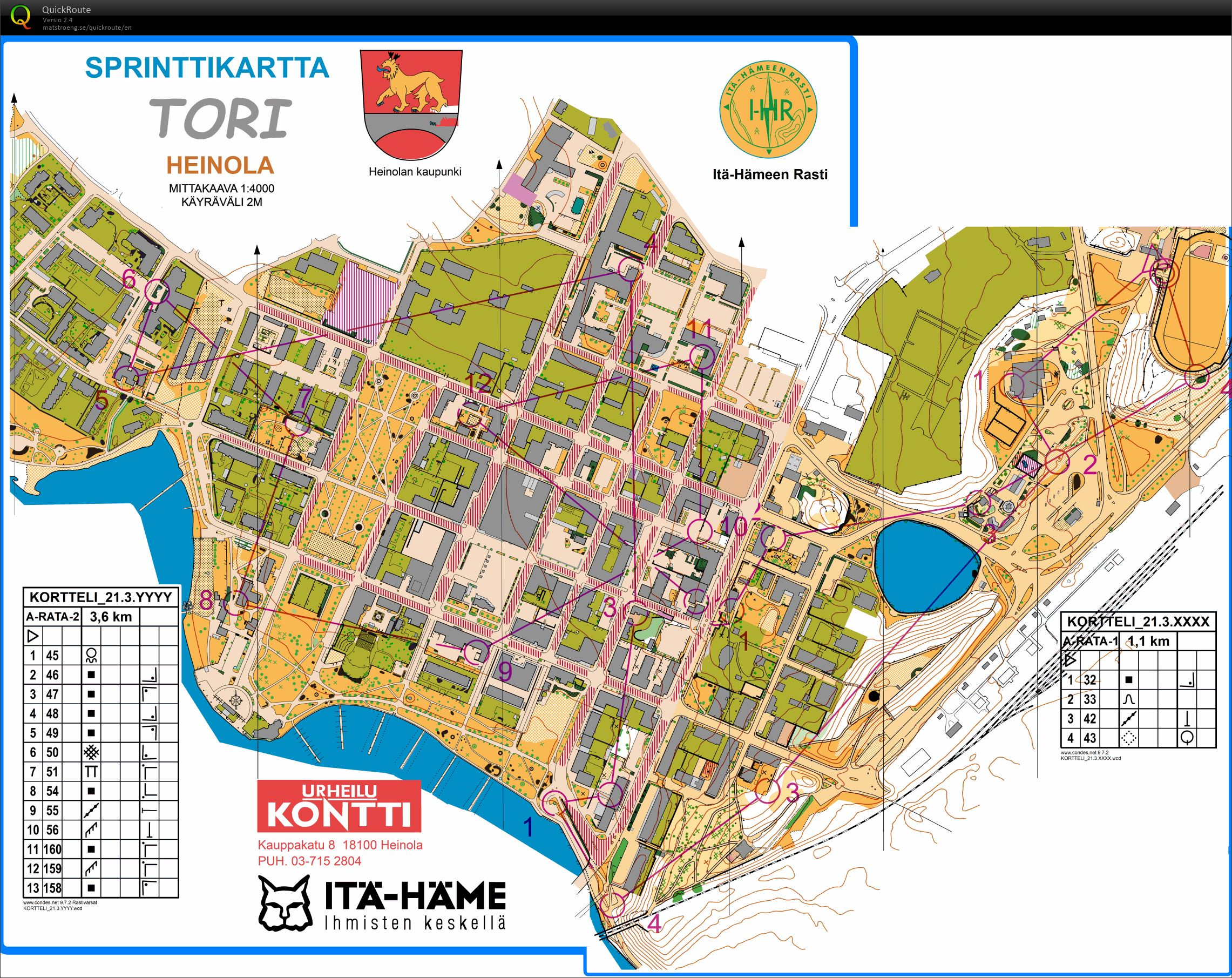 Korttelikuppi Heinola A March 21st 2018 Orienteering Map from
