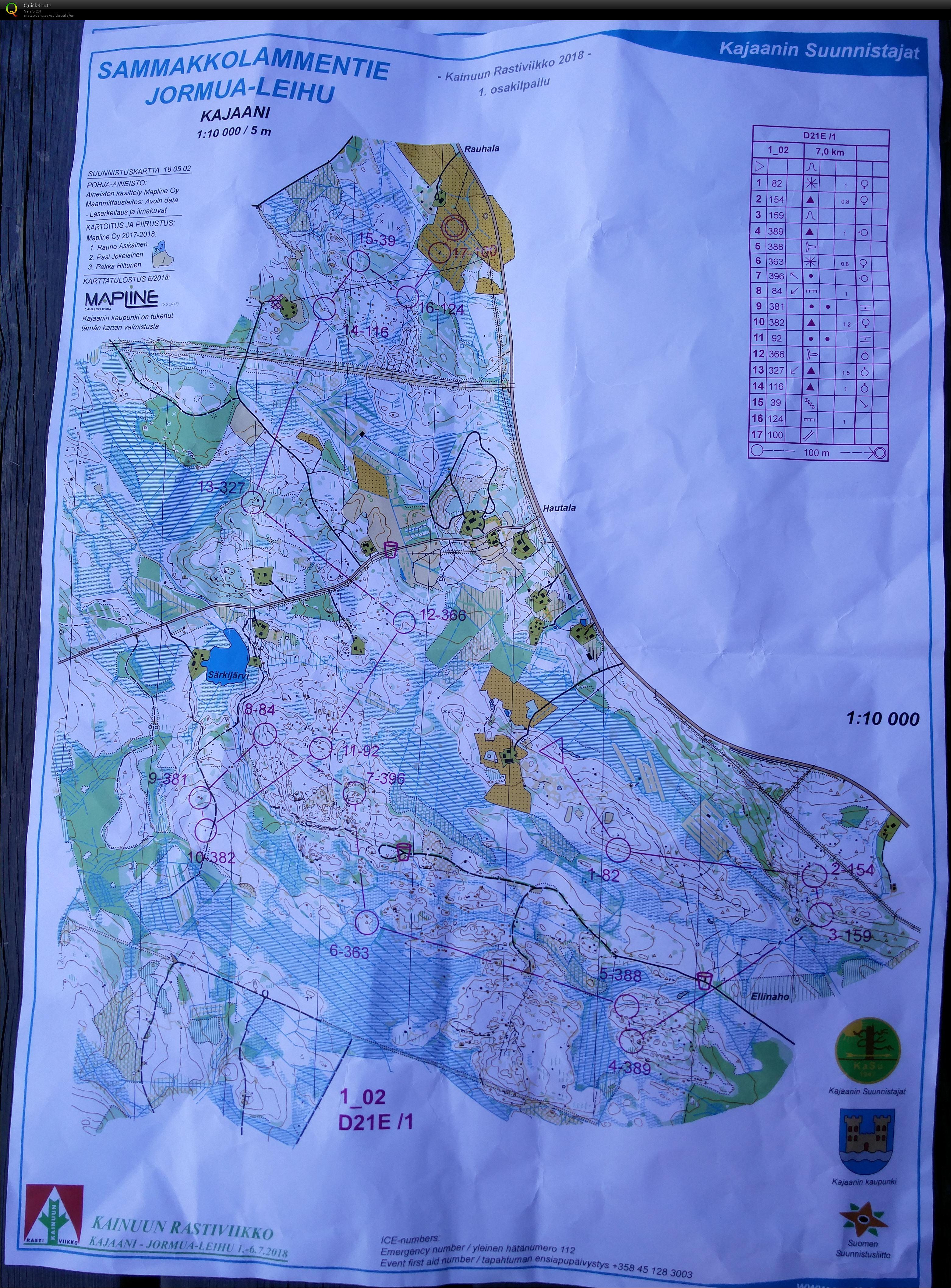 Krv 1 July 1st 2018 Orienteering Map From Milla Lohikainen