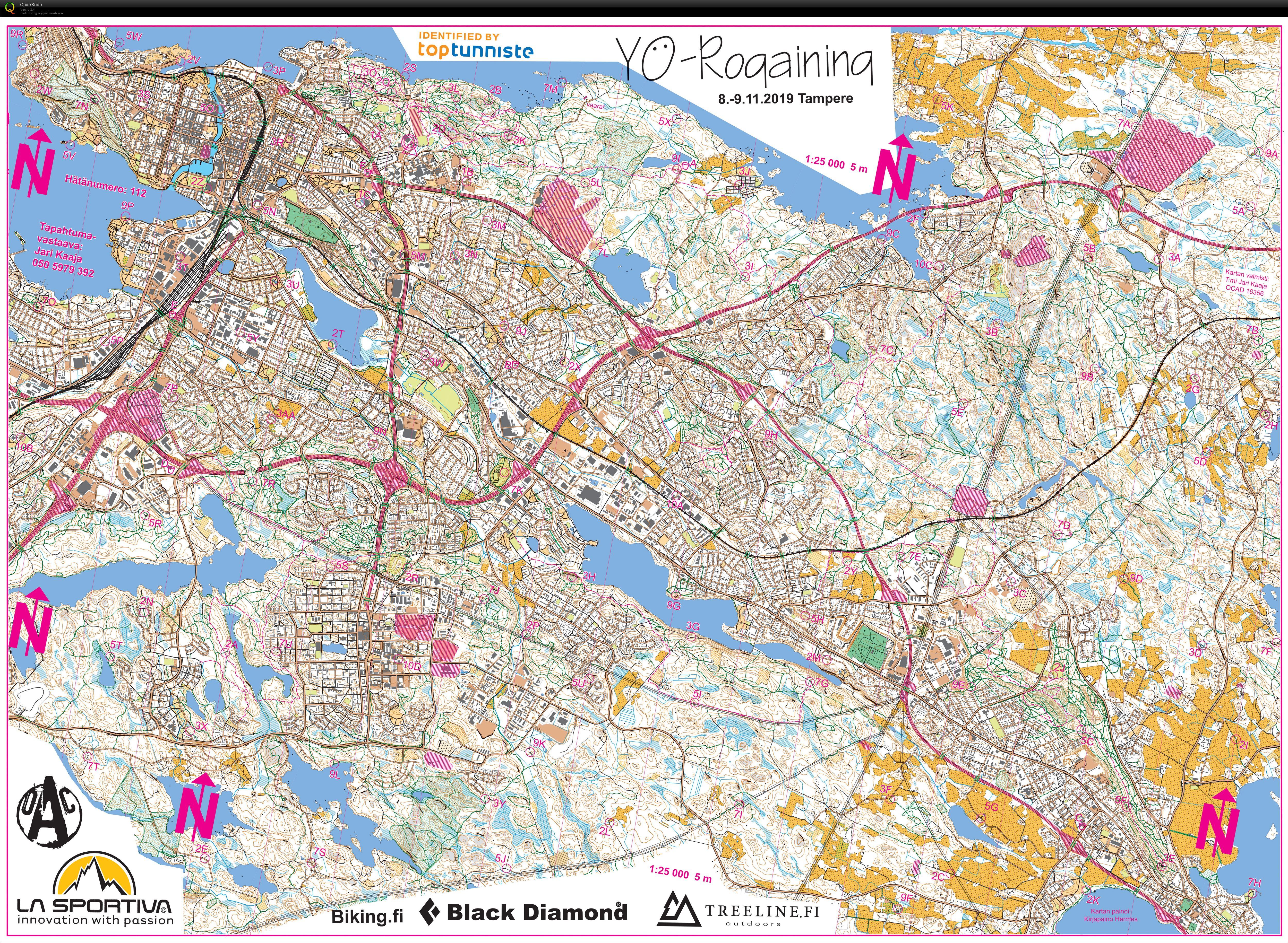 Yo Rogaining Tampere November 8th 2019 Orienteering Map From